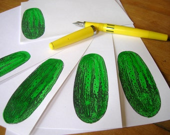 luxury pickle stationery set on 25 per cent cotton paper - hand painted green