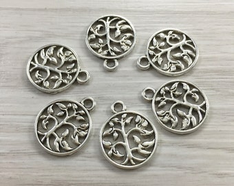 30pcs  Double Sided Tree Of Life Charms, Tree Of Life Pendants , Tree of life Necklace  Antique Silver