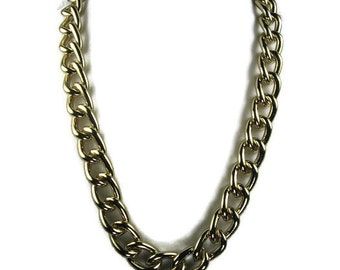 Chunky Chain Necklace 24 Inch Gold Tone