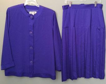 Vintage 1980's Lilli Ann Purple Suit Pleated Skirt Size 16