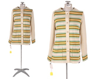Deadstock 1970s Tan Off Whitr Multi Colored Rainbow Striped Button Down Sweater Jacket by Richtone -L