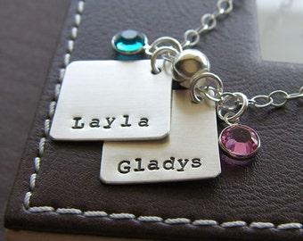 """Personalized Charm Necklace - Hand Stamped Sterling Silver - Two 3/4"""" Diamond Charms - Custom Jewelry with Optional Birthstones or Pearls"""