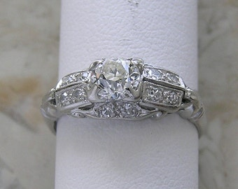 Deco Engagement Ring  Old Mine Cut Diamond Platinum Antique