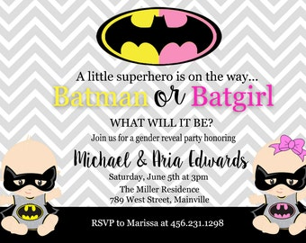 Batman, Batgirl, Baby Shower, Gender Reveal, Invitation, Party, Boy or Girl, Baby - Printed or Digital
