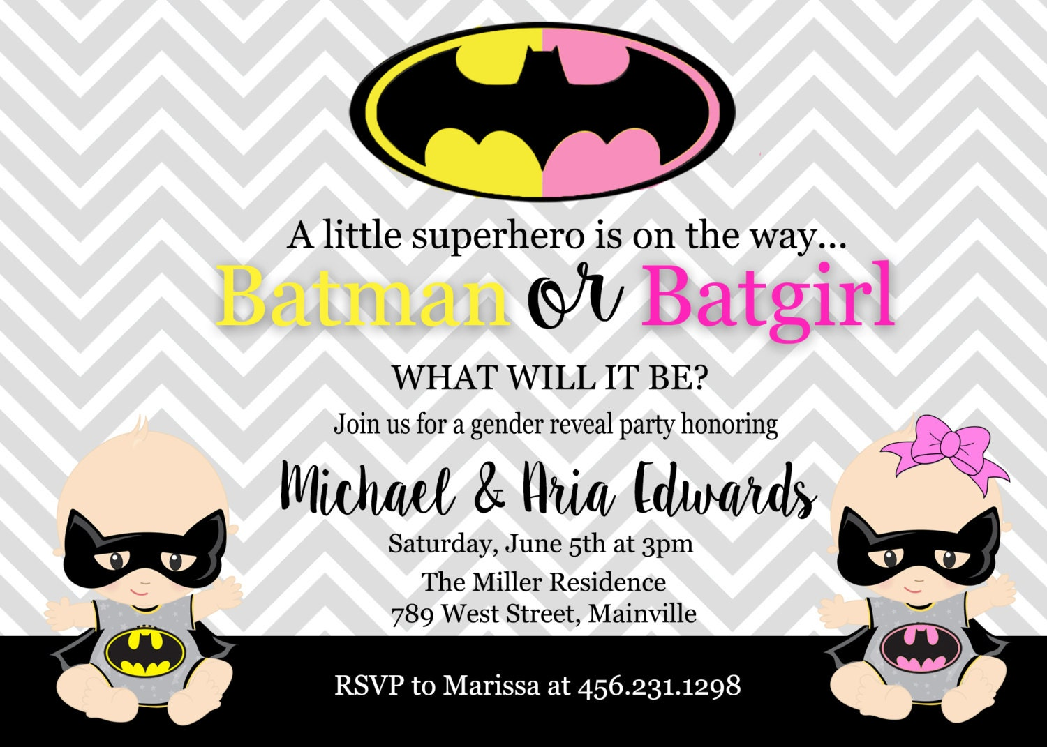 Batman Batgirl Baby Shower Gender Reveal Invitation