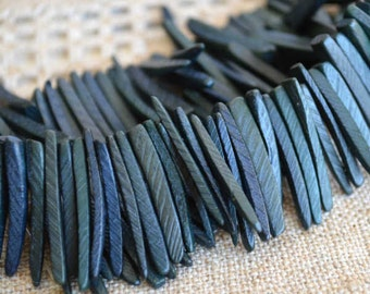 Dark Grey Sticks Wood Beads Top-Drilled Stick 25x4mm 16 Inches Coconut Palm