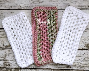 Handmade Dish Cloths Pink Green White Wash Cloth Cotton Kitchen Dishcloths Crochet Set of 3