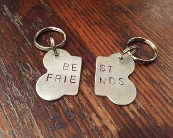 Best Friends Bone Dog Tag set - HANDSTAMPED - two bff dog tags or keychains -THE ORIGINAL- My dogs are best friends - dog gift
