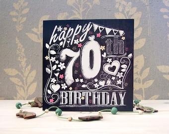 Happy 70th Birthday Chalkboard style card