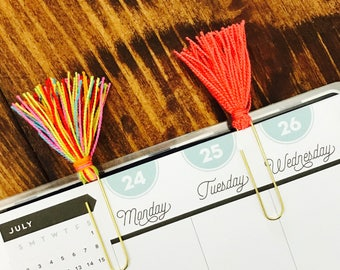 Coral and Multi-Colored Tassel Paperclips