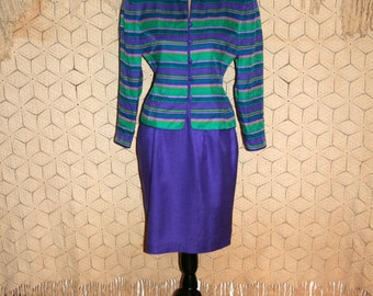 80s Suit Silk Skirt Suit Petite Small Size 6 Women Suit Retro 1980s Clothing Purple Teal Stripe Jacket Midi Skirt Papell Vintage Clothing