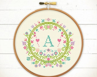 Modern Cross stitch pattern- Floral with Alphabet/Letter, Custom cross stitch, Spring cross stitch, Baby cross stitch,Initial Monogram