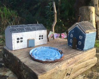 Little wood house -   reclaimed wood -  wood houses - little cottages - tiny houses -diorama-  driftwood house