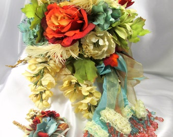 Burnt Orange, Aqua  and Light Gold Bridal Cascading Brooch Bouquet and Boutonniere Set  ready to ship