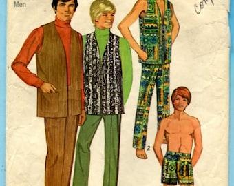 Simplicity 8949 Pants Shorts Lace Up Vests Vintage 1970s Sewing Pattern Mens Size 38 Waist 32