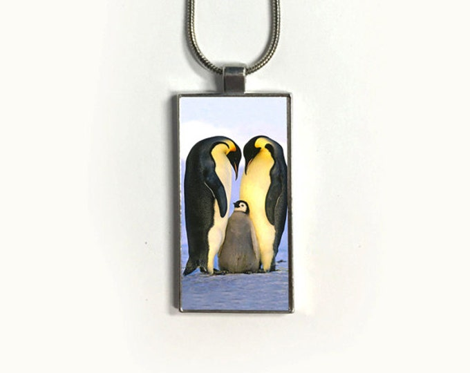 Necklace PENGUIN FAMILY, Pendant, Wild Life, Penguins, sublimation, gift for friends
