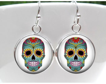 Day of the Dead Earrings  - Sugar Skull Halloween Earrings - sterling silver plated -choice of earwires