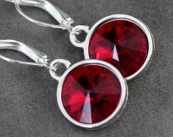Red Garnet Earrings, January Birthstone Earrings, Garnet Jewelry, Red Swarovski Crystal, January Birthstone Jewelry, Garnet Drop Earrings