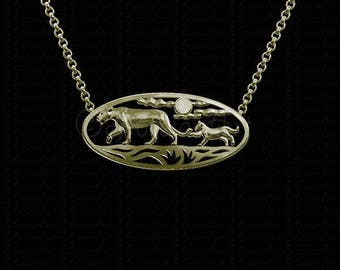 African Sunset - Gold with a white Sapphire pendant and necklace