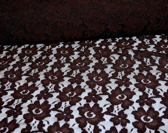 """Stretch re-embroidered double scallop lace 52/54"""" wide 1 yard..Brown . formal wear, bridal, mother of bride, flower girl"""