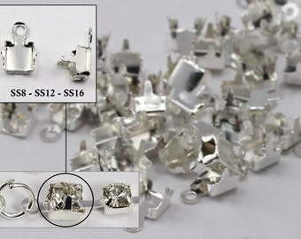 SS8 SS12 SS16 Silver Crystal Rhinestone Cup Chain Ends For Jewelry Making - 20 Pieces