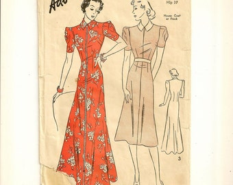 """A Fabulous Short Sleeve Day Frock & Floor Length Dressing Gown / House Coat Sewing Pattern for Women: Retro Size 16, Bust 34"""" • Advance 1975"""