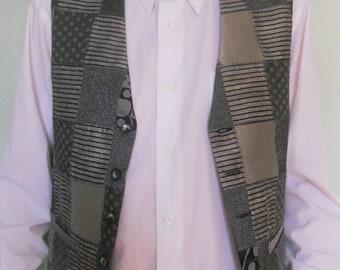 Patchwork men's clasic vest, grey silver vest, size XL mens vest, ready to ship