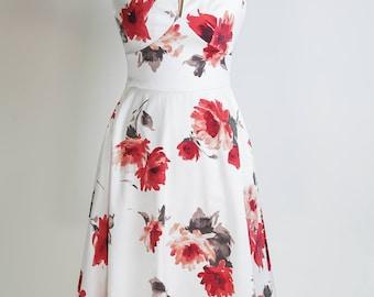 Floral dress, summer dress, made-to-measure dress, mid-length dress, mother of the bride dress, cotton dress, wedding guest dress