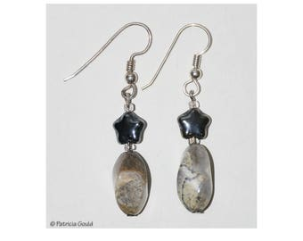EA36 - Earrings - Silver Leaf Jasper, glass stars, sterling wires - one of a kind by Patricia Gould
