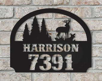 Personalized Metal Family Name Sign with Deer Scene for Outdoor Use