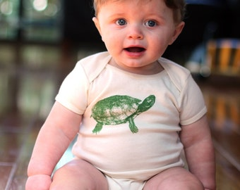 Turtle Bodysuit - Organic Cotton Natural Onepiece - made in America - hand screen printed