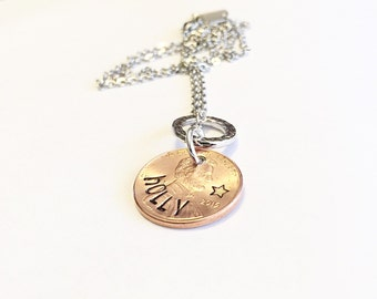 Name necklace- Penny necklace - Hand stamped necklace - Customized penny necklace - Penny jewelry - Coin jewelry - Pennies from heaven