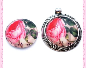 Set of 4 Cabochons glass round 25mm floral REF1684X4