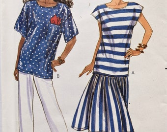 Butterick 4108 Vintage 1980's Sewing Pattern Misses' Loose Fitting Pullover Top Pattern Dirndl Skirt Tapered Pants 80s Style Sz XS-S-M UNCUT