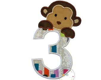 Peek-a-boo monkey birthday number 3 iron on applique-retro bright coloedr blocks and white  machine embroidery patch-DIY boutique fashions