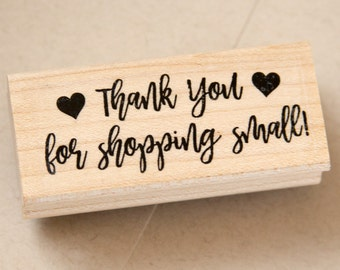 Thank you for shopping small Rubber Stamp - Small Business Rubber Stamp - Small Business Packaging - 2.5 x 1 inch