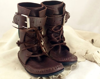 Chocolate Brown Shin High Indie Moccasin With Buckles Hand Stitched Soft Bullhide Leather Upper With A Durable VIBRAM Sole / Renaissance