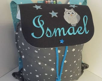 Backpack nursery or crib size 2/3 years with name and embroidery OWL new shop: you can find me