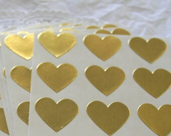 """Large GOLD Heart Stickers, 1.5"""" Sticker Seals, 6 COLORS"""