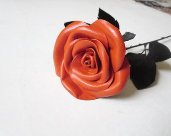 Long Stem red rose-symbol of love -Leather rose -Red flower- Wedding- 3rd Anniversary- Gift -Sexy Flower Valentines Day