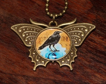 Crow Necklace, Bird Jewelry, Raven, Victorian Goth, Blue Rose, Gothic, Bronze Butterfly Pendant