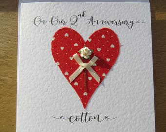 2nd wedding anniversary card cotton 2nd anniversary 2 years marriage keepsake -Husband, Wife gift
