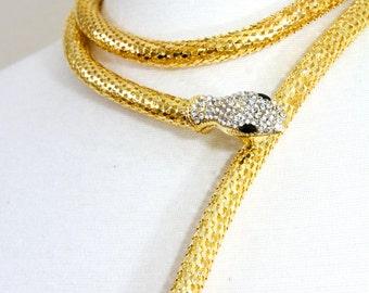 Gold necklace, Statement necklace, Snake necklace - Elizabeth & James Aalt