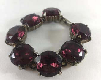 Amethyst Colored Stone Bracelet Chunky Statement Piece