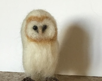 barn owl, needle felted bird soft sculpture