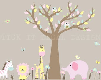 Jungle Decals, Jungle Wall Decals, Nursery Wall Decal, Giraffe, Elephant, Lion, XXXL Soft Pastels Design / Brown Tree