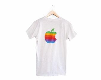 vintage t shirt / thin / Apple / Macintosh / 1980s rainbow Apple computers Screen Stars t shirt Small