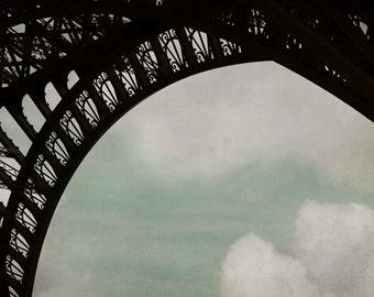 Eiffel Tower Print, Paris Photography, Black, Blue, White, Architecture, Large Wall Art, Industrial, Paris Print