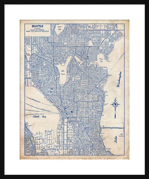 Seattle map 1944 street map vintage blueprint grunge print malvernweather Gallery