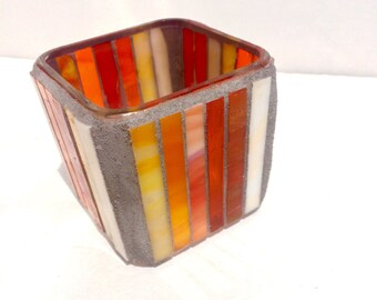 Orange mosaic candle holder, striped votive, stained glass mosaic home decor, first apartment, best friend gift, hostess gift, sunshine